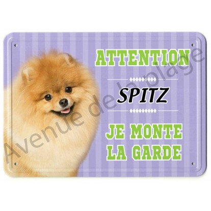 Pancarte métal Attention au chien - Spitz