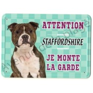 Pancarte métal Attention au chien - Staffordshire