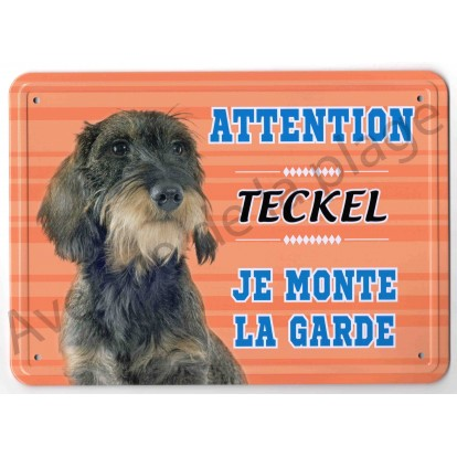 Pancarte métal Attention au chien - Teckel à poil dur