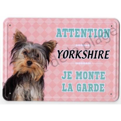 Pancarte métal Attention au chien - Yorkshire