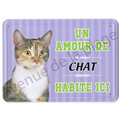 Pancarte métal : Un amour de chat tricolore habite ici