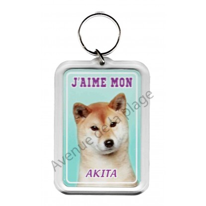 Porte clé J'aime mon chien - Akita