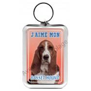 Porte clé J'aime mon chien - Basset Hound