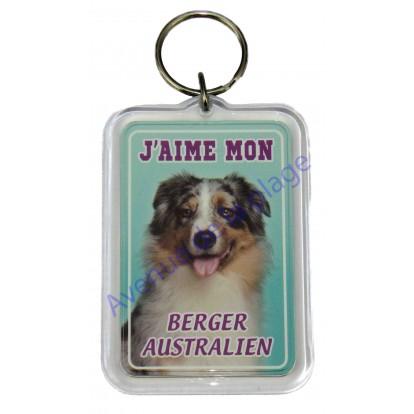 Porte clé J'aime mon chien - Berger Australien
