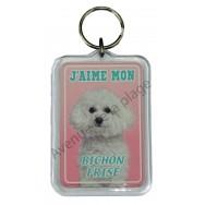 Porte clé J'aime mon chien - Bichon Frisé
