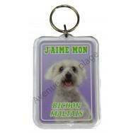 Porte clé J'aime mon chien - Bichon Maltais