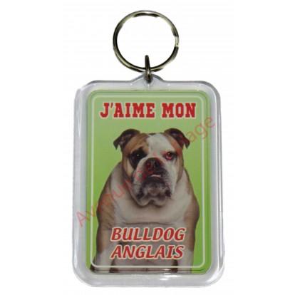 Porte clé J'aime mon chien - Bulldog Anglais