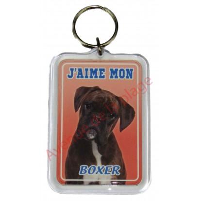 Porte clé J'aime mon chien - Boxer