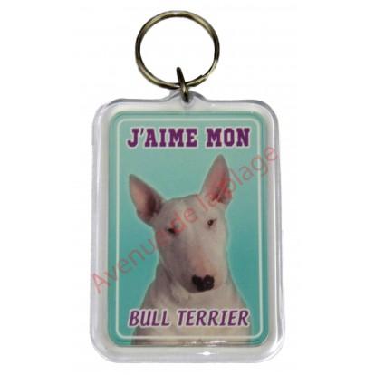 Porte clé J'aime mon chien - Bull Terrier
