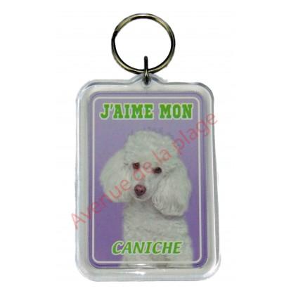 Porte clé J'aime mon chien - Caniche blanc