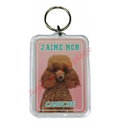 Porte clé J'aime mon chien - Caniche Toy