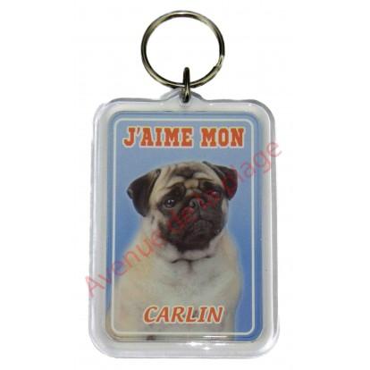 Porte clé J'aime mon chien - Carlin