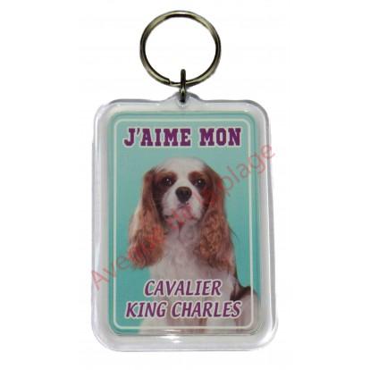 Porte clé J'aime mon chien - Cavalier King Charles Blenheim
