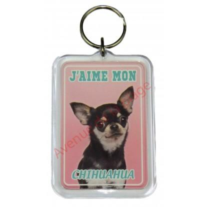 Porte clé J'aime mon chien - Chihuahua tricolore