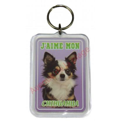 Porte clé J'aime mon chien - Chihuahua à poil long