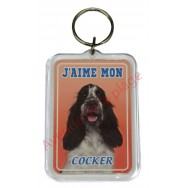 Porte clé J'aime mon chien - Cocker noir et blanc