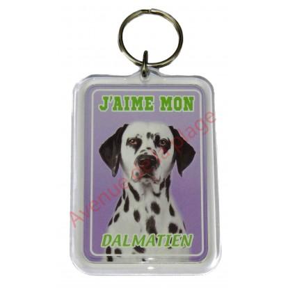 Porte clé J'aime mon chien - Dalmatien