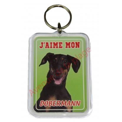 Porte clé J'aime mon chien - Dobermann