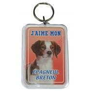 Porte clé J'aime mon chien - Épagneul Breton