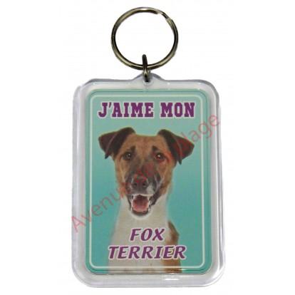 Porte clé J'aime mon chien - Fox Terrier