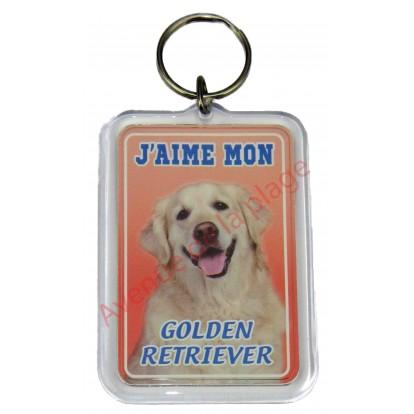 Porte clé J'aime mon chien - Golden Retriever