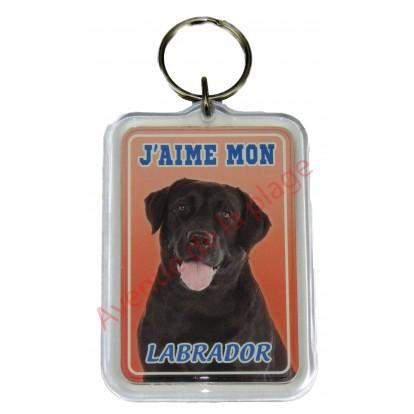 Porte clé J'aime mon chien - Labrador Noir