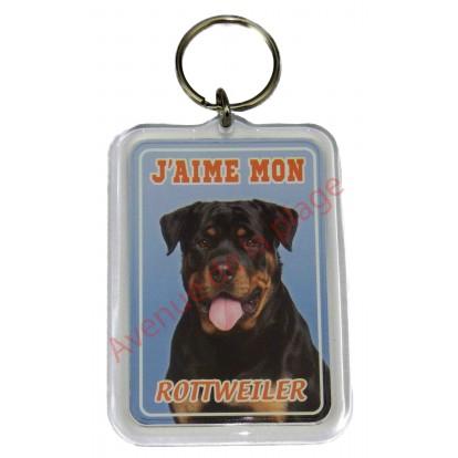 Porte clé J'aime mon chien - Rottweiler