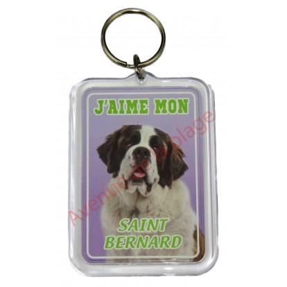Porte clé J'aime mon chien - Saint Bernard