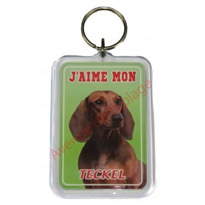 Porte clé J'aime mon chien - Teckel à poil court
