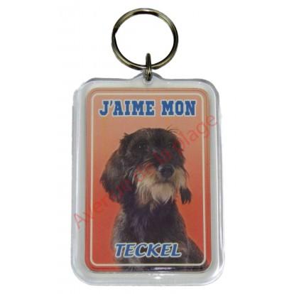 Porte clé J'aime mon chien - Teckel à poil dur