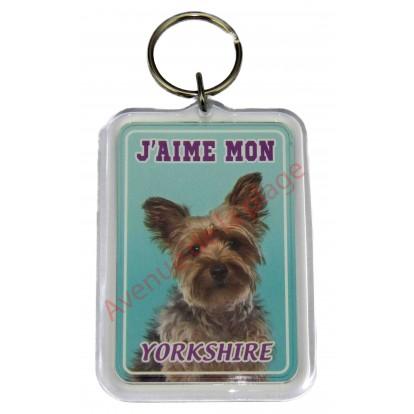 Porte clé J'aime mon chien - Yorkshire