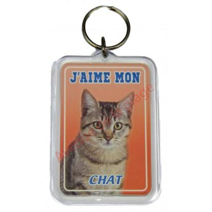 Porte clé J'aime mon chat tigré