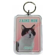 Porte clé J'aime mon chat noir et blanc
