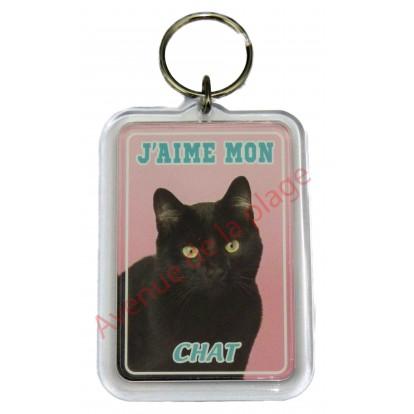Porte clé J'aime mon chat noir