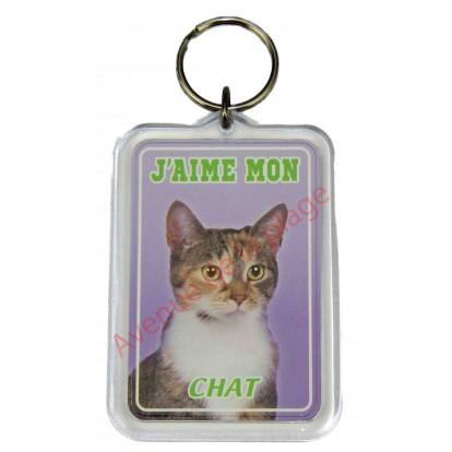 Porte clé J'aime mon chat tricolore