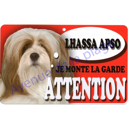 Plaque Attention Je monte la garde - Lhassa Apso