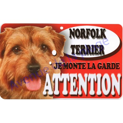 Plaque Attention Je monte la garde - Norfolk Terrier