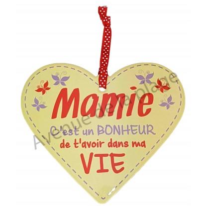 """Coeur à suspendre """"Mamie C'est un bonheur de t'avoir dans ma vie"""""""