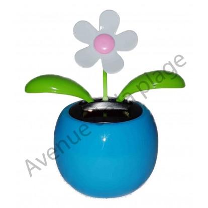 Fleur blanche solaire qui se balance, pot bleu D