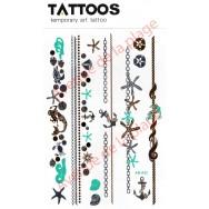 Tatouage doré temporaire bracelets marins