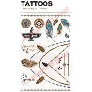 Tatouage doré temporaire plumes et motifs Maya