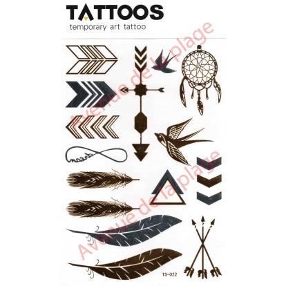 Tatouage doré temporaire plumes et flèches