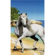 """Serviette de plage """"Cheval blanc sur la plage"""""""