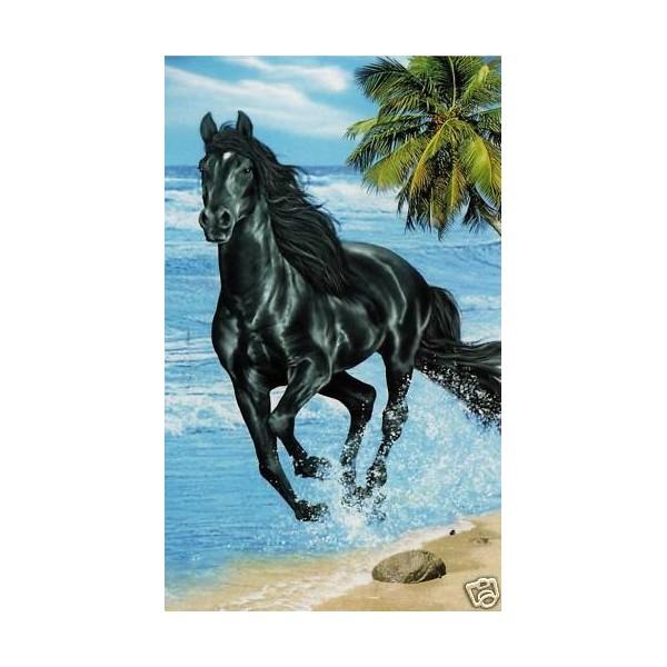 serviette de plage cheval noir sur la plage vente avenue de la plage. Black Bedroom Furniture Sets. Home Design Ideas