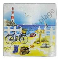 Dessous de plat carré : La plage en vélo