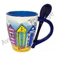 Mug avec cuillère cabines de plage