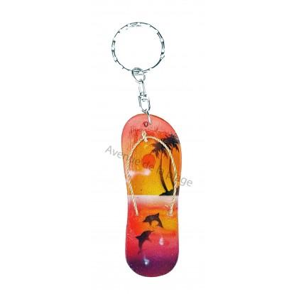 Porte clés tong : couché de soleil