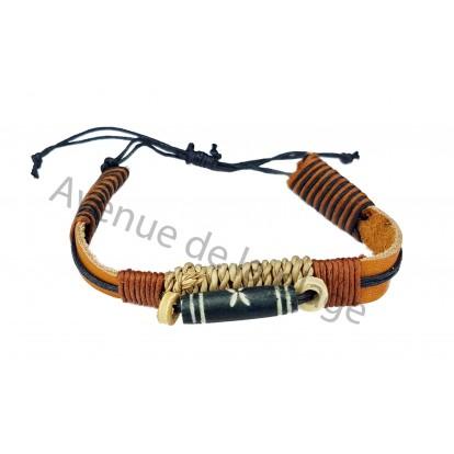Bracelet plat en cuir style surfeur