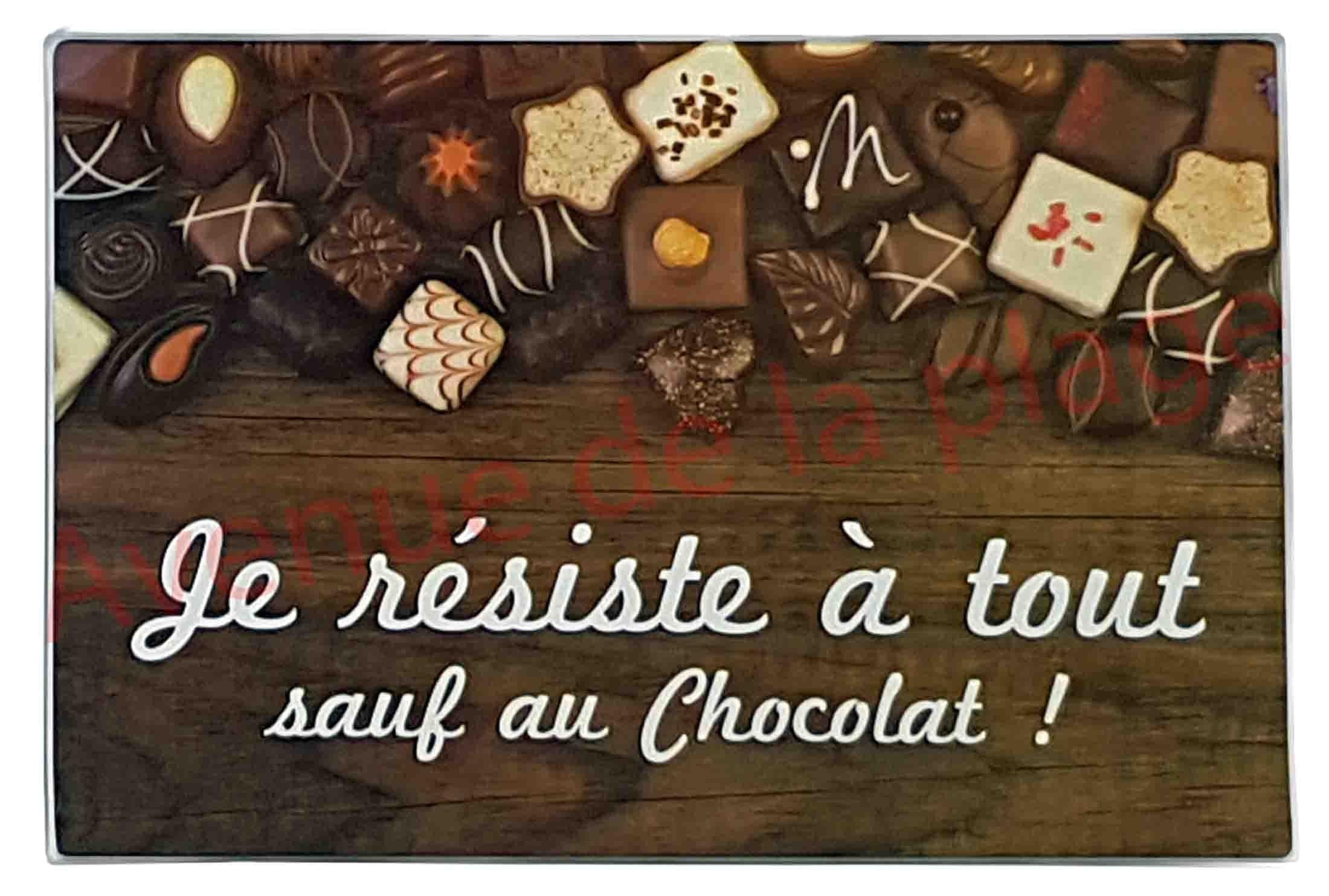 Planche À Découper Humoristique planche à découper humoristique je résiste à tout sauf au chocolat !