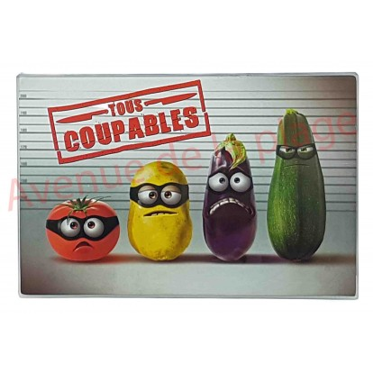 """Planche à découper humoristique légumes """"Tous coupables"""""""